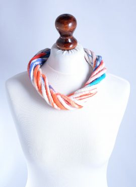 Felt modern necklace in red and blue