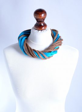 Tribal rope necklace felted in blue and brown