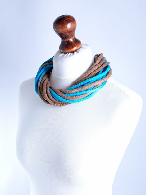 Tribal rope jewelry in brown and blue
