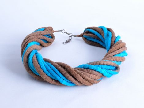 Tribal rope necklace in blue and brown