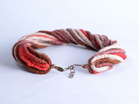 Twist rope necklace in brown and beige