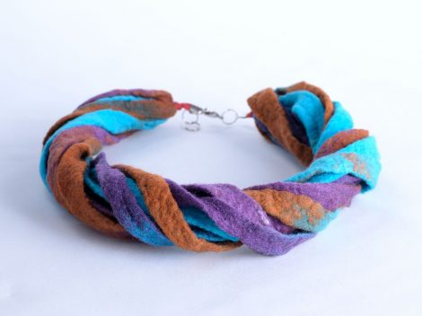 Twisted ribbon necklace in russet blue and brown
