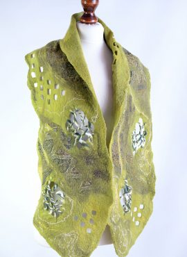 Green felt shawl or scarf with airy design