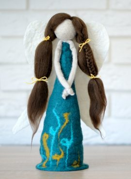 Felt angel figurine for nativity or christmas tree