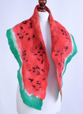 Felt watermelon scarf in red and green