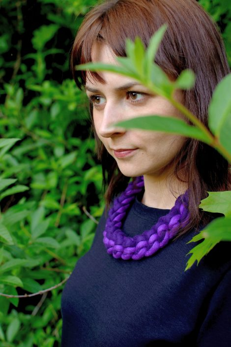 Felted crochet necklace in a bib style
