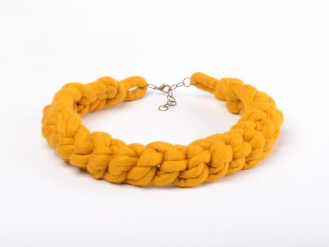 Felted crochet necklace made of yellow wool