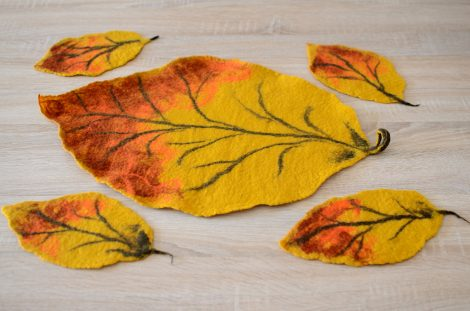 Felted leaf coasters in autumn colors