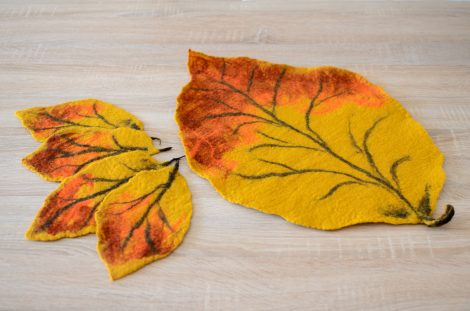 Five felted coasters with autumn design