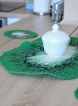 Green felt coasters with kiwi design
