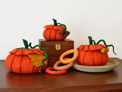 Jewelry boxes in pumpkin shape