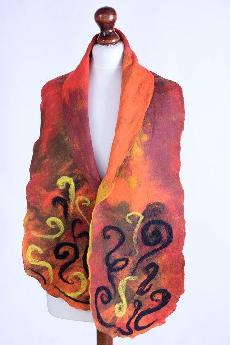 Red scarf with needle felted pattern