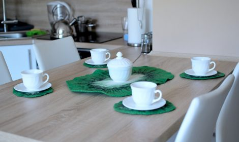 Set of five felt coasters in green