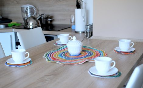 Set of five felted coasters for kitchen