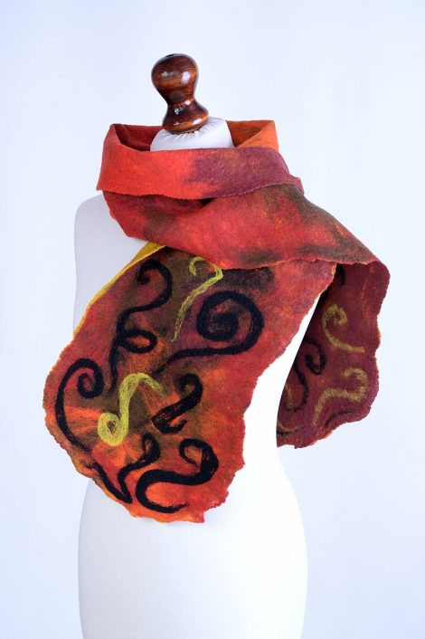 Wool scarf with needle felted pattern