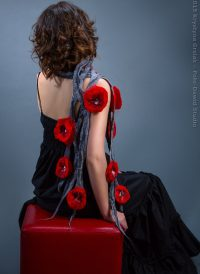 Romantic grey scarf with red poppies