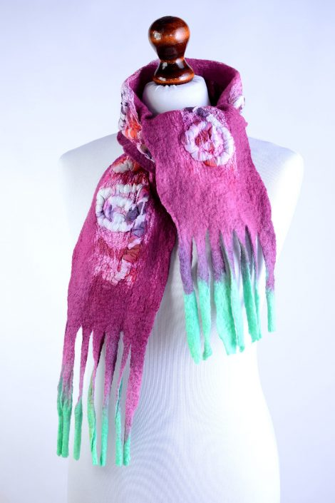 Nuno felted pink scarf