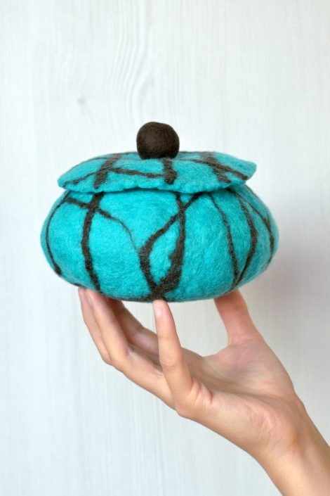 Felted jewelry box in turquoise and brown