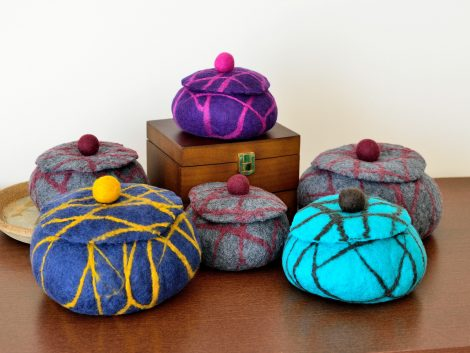 Felted jewelry boxes