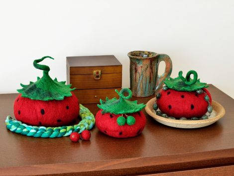 Fruit jewelry boxes in kawaii style made in felting technique