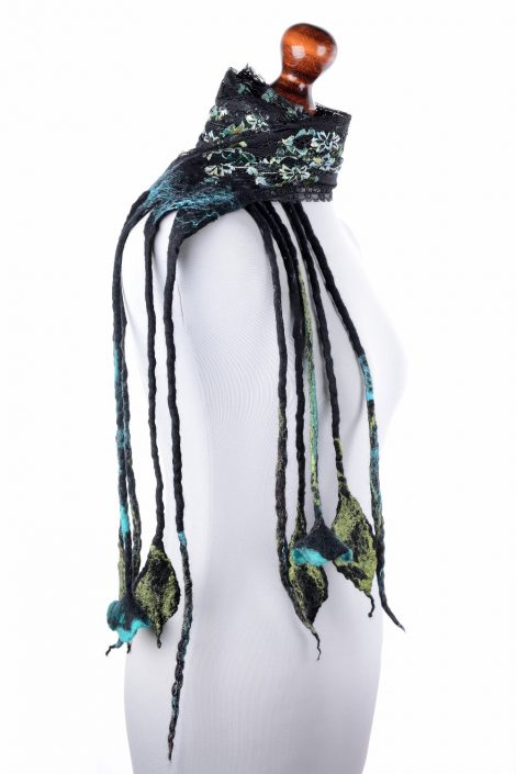 Lace scarf with felted fringe