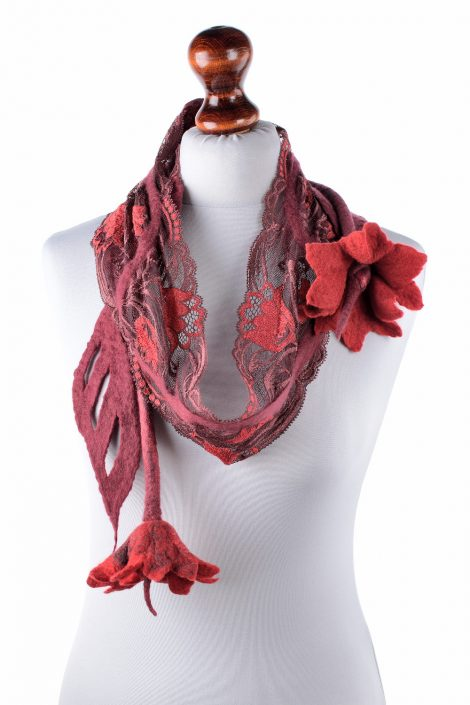 Nuno felt scarf with red lace