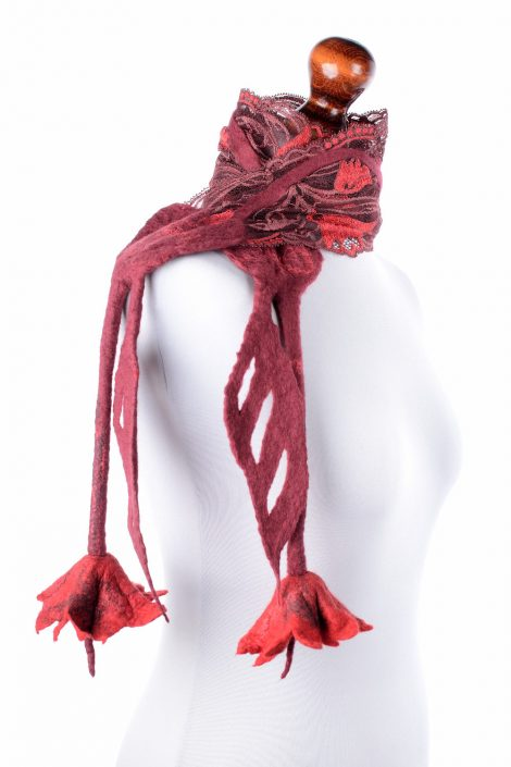 Nuno felted lace scarf in red