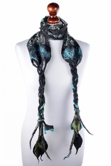 Nuno felted lace scarf