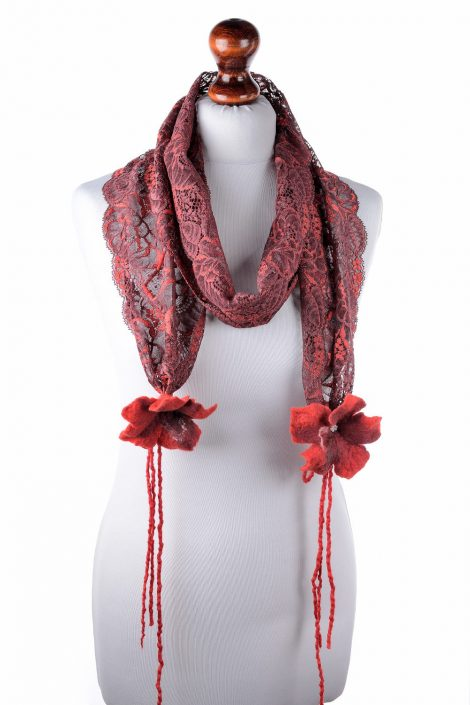 Red lace scarf with felt flowers
