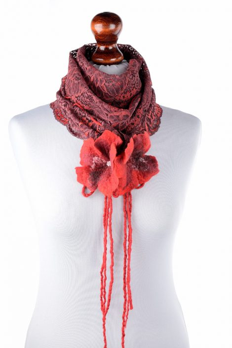 Red lace scarf with felted flowers