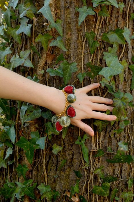 Chain bracelet with felted watermelons