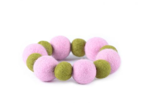 Felted bead bracelet in pink and green