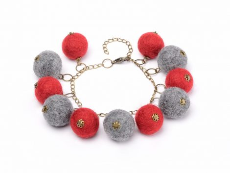 Hand felted ball bracelet in red and gray