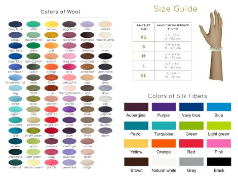 Size guide for bracelets with colors of wool and silk