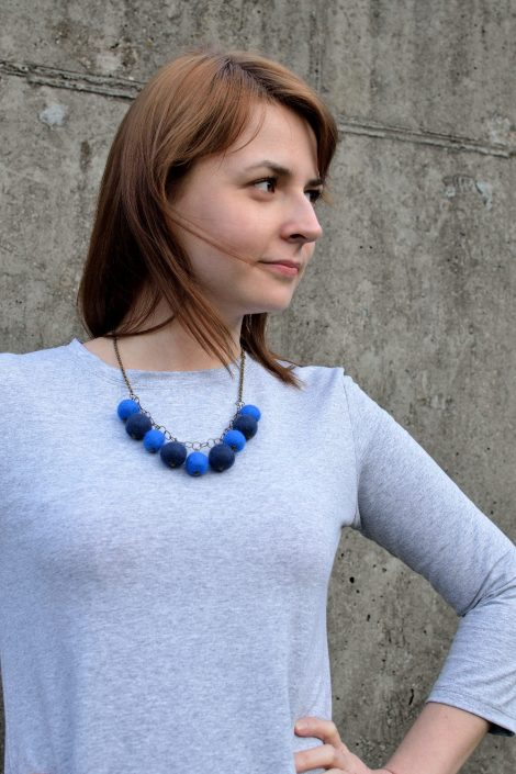 Felt ball necklace with jewelry chain