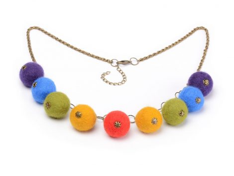 Felted ball necklace in colors of the rainbow