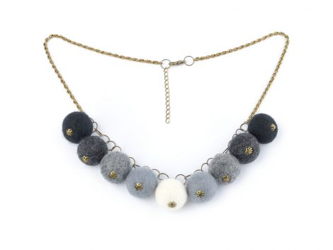 Felted ball necklace in shades of gray