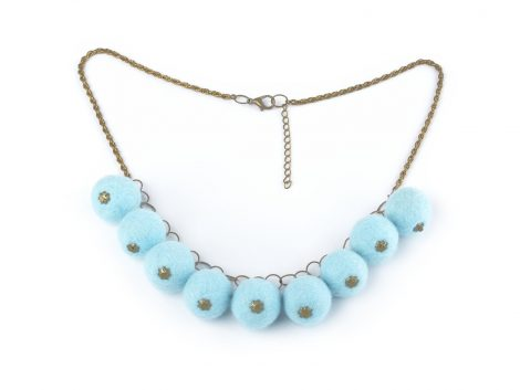 Felted ball necklace in sky blue