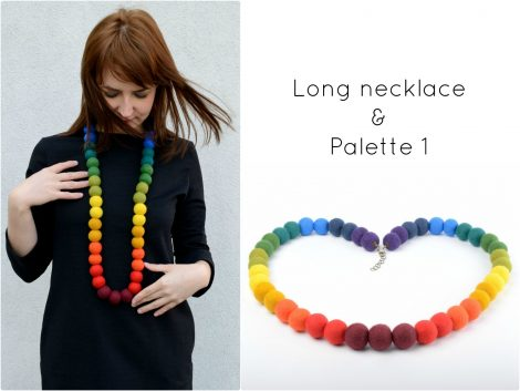 Long felt bead necklace in rainbow colors
