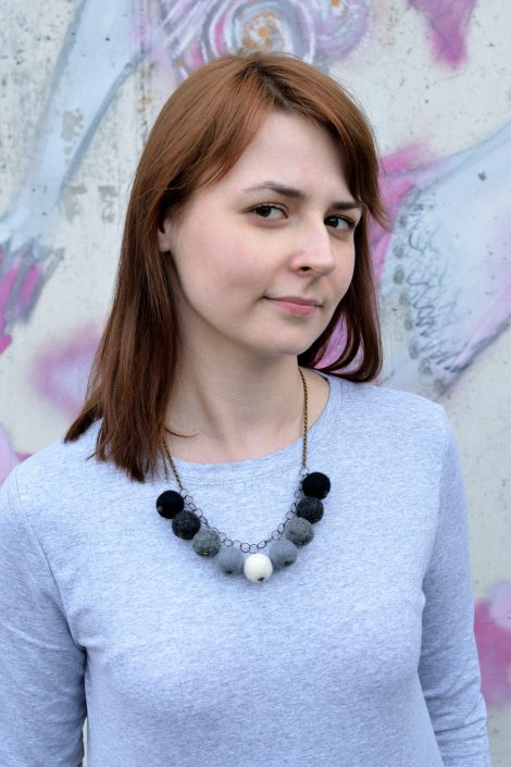 Necklace with felted balls on jewelry chain