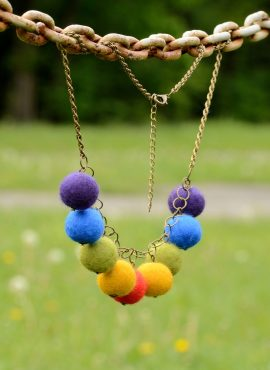 Felted ball necklace on a chain