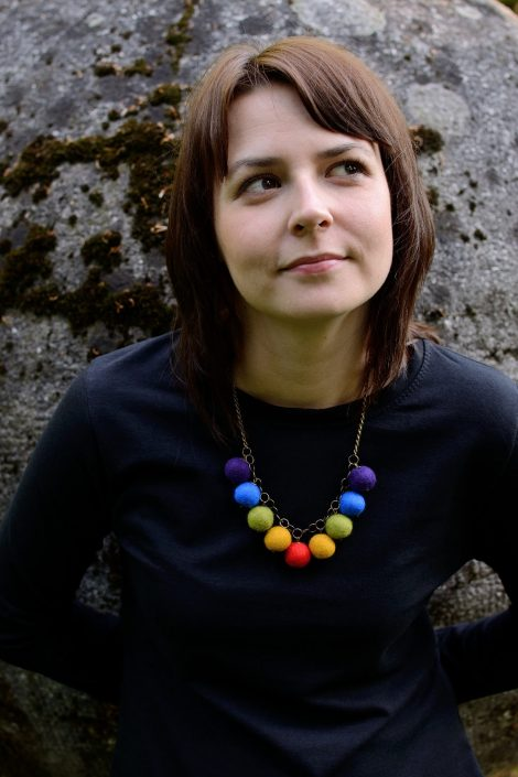 Felted ball necklace with colorful design