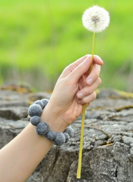 Felted bead bracelet and a dandelion