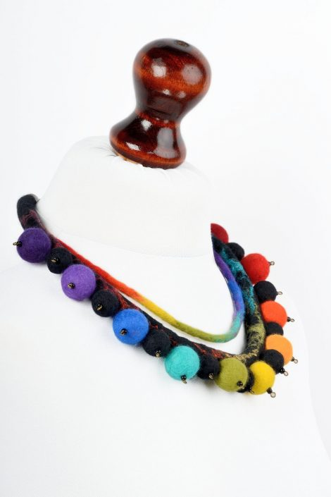 Designer wool necklace with felted balls