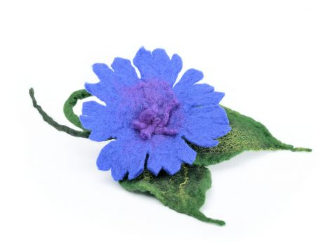 Felt cornflower brooch