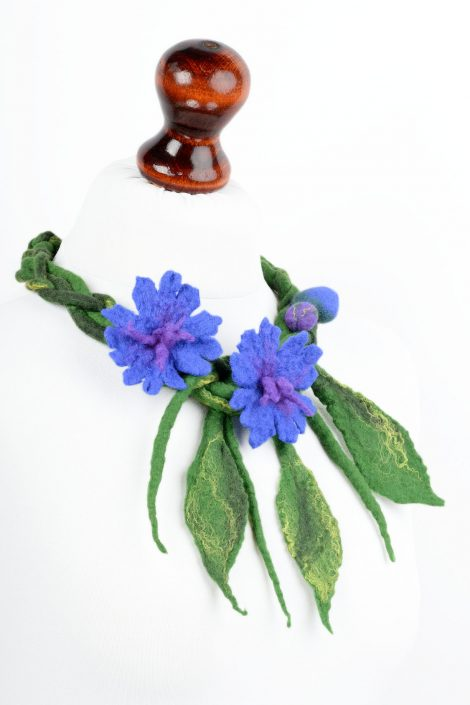 Felt cornflower necklace