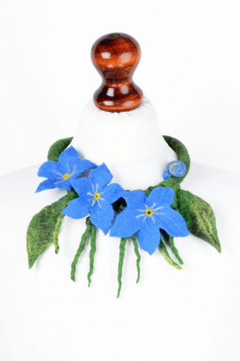 Felt forget-me-not necklace