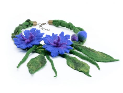 Felt necklace with cornflowers