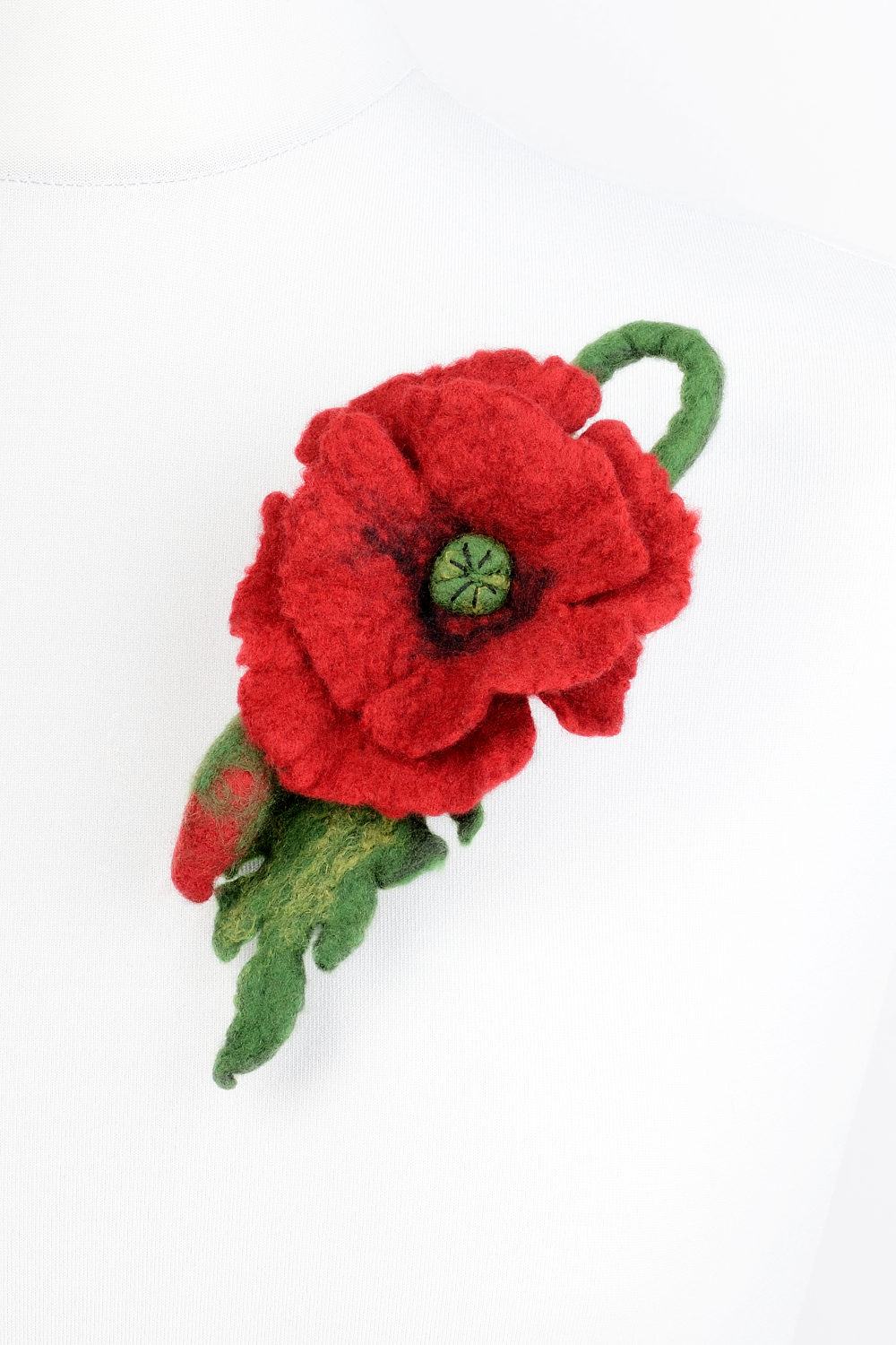 Felt Poppy Brooch With Red Flower And Green Leaves