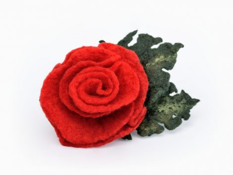 Felt rose brooch with leaf